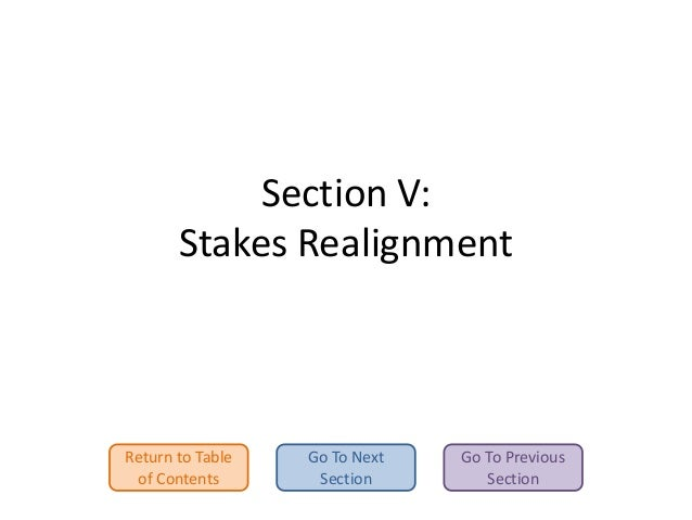 Section V: Stakes Realignment  Return to Table of Contents  Go To Next Section  Go To Previous Section