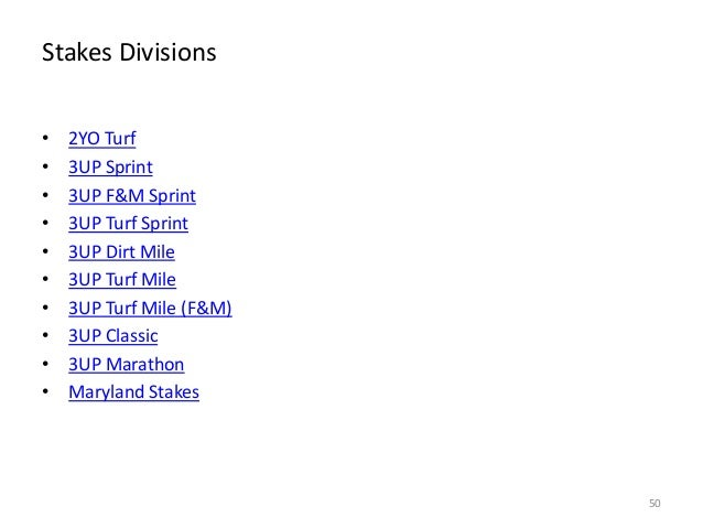 Stakes Divisions • • • • • • • • • •  2YO Turf 3UP Sprint 3UP F&M Sprint 3UP Turf Sprint 3UP Dirt Mile 3UP Turf Mile 3UP T...