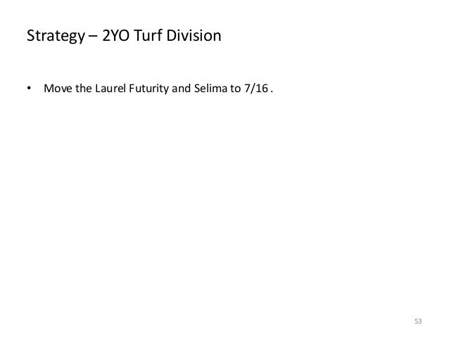 Strategy – 2YO Turf Division • Move the Laurel Futurity and Selima to 7/16 .  53