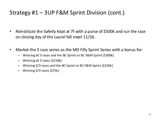 Strategy #1 – 3UP F&M Sprint Division (cont.) • Reinstitute the Safetly Kept at 7f with a purse of $500k and run the race ...