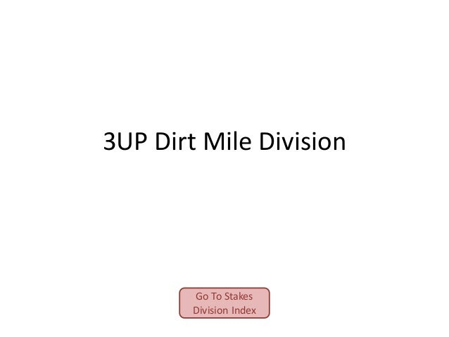 3UP Dirt Mile Division  Go To Stakes Division Index