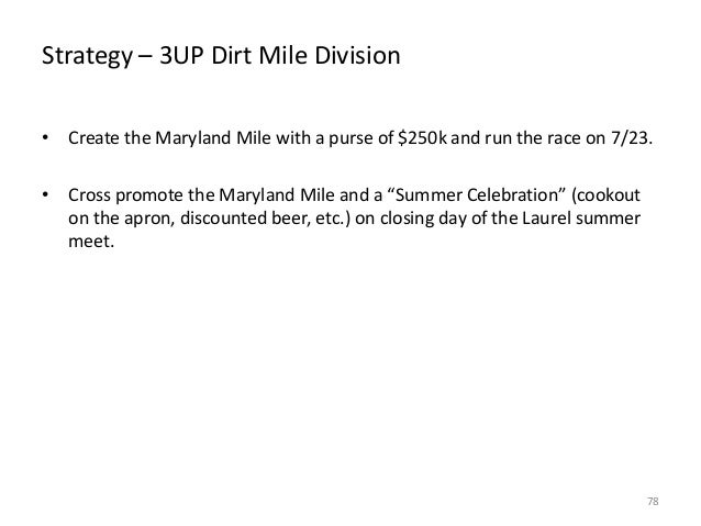 Strategy – 3UP Dirt Mile Division • Create the Maryland Mile with a purse of $250k and run the race on 7/23. • Cross promo...