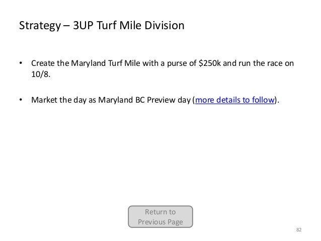 Strategy – 3UP Turf Mile Division • Create the Maryland Turf Mile with a purse of $250k and run the race on 10/8. • Market...