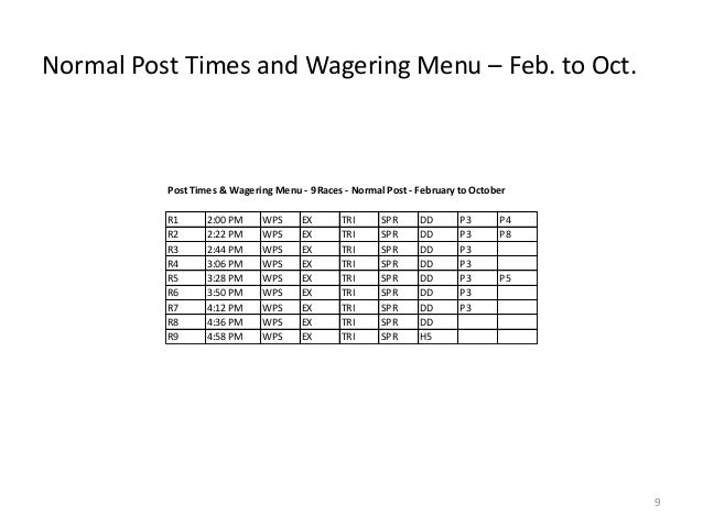 Normal Post Times and Wagering Menu – Feb. to Oct.  Post Times & Wagering Menu - 9 Races - Normal Post - February to Octob...