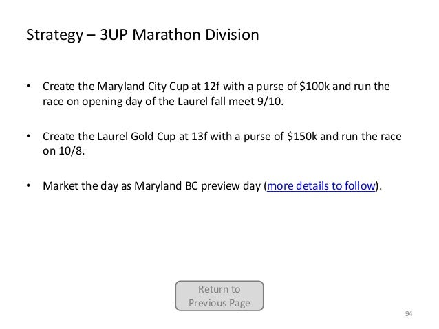Strategy – 3UP Marathon Division • Create the Maryland City Cup at 12f with a purse of $100k and run the race on opening d...