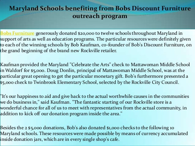 Maryland Schools Benefiting From Bobs Discount Furniture Outreach Pro