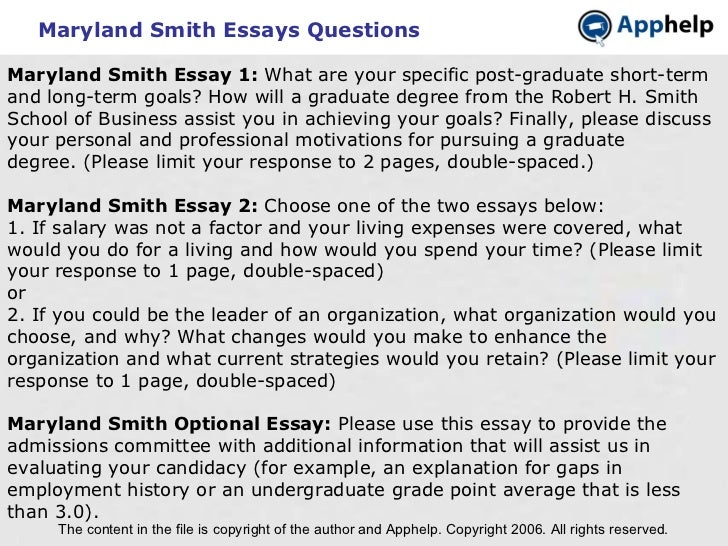Maryland SmithEssays Questions The content in the file is copyright of the author and Apphelp. Copyright 2006. All rights...