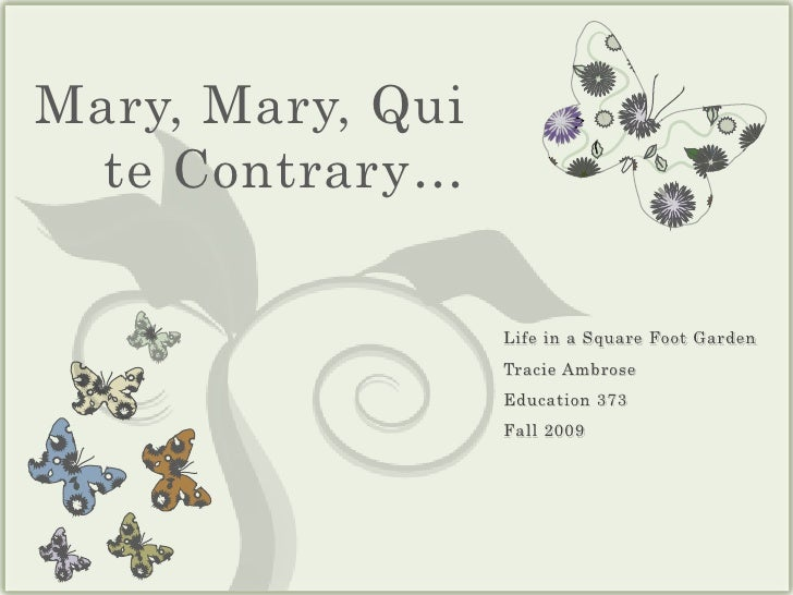 Mary, Mary, Quite Contrary…<br />Life in a Square Foot Garden<br />Tracie Ambrose<br />Education 373<br />Fall 2009<br />