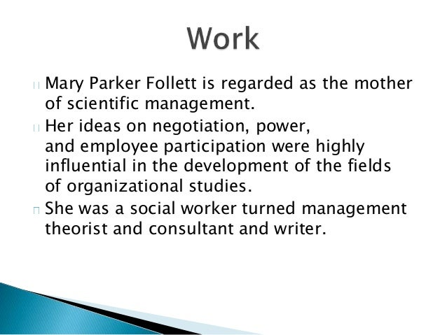 mary parker follett power essay A look at the life and work of mary parker follett in a 1924 essay, power, she coined the words power-over and power-with to differentiate mary.