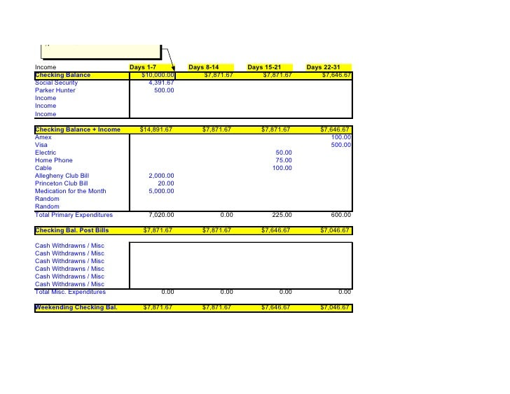 Type in Previous Week Amount Here    Income                                Days 1-7         Days 8-14       Days 15-21    ...