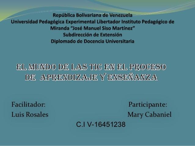 Facilitador:                    Participante:Luis Rosales                    Mary Cabaniel               C.I V-16451238