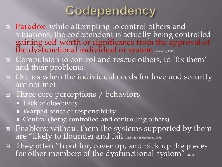 codependent dating a narcissist Unlike codependents, who accept a lot of discomfort, narcissists won't put up with   this can be anytime—before the first date, after the first date, after sex, after.