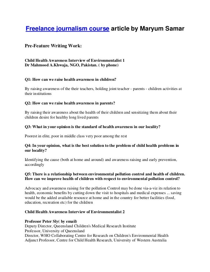 Freelance journalism course article by Maryum SamarPre-Feature Writing Work:Child Health Awareness Interview of Environmen...