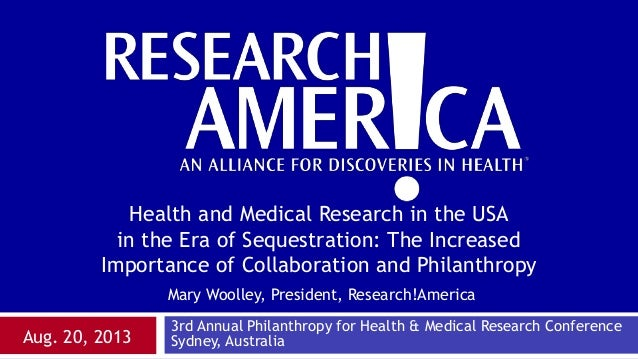 Mary Woolley, President, Research!America Aug. 20, 2013 Health and Medical Research in the USA in the Era of Sequestration...