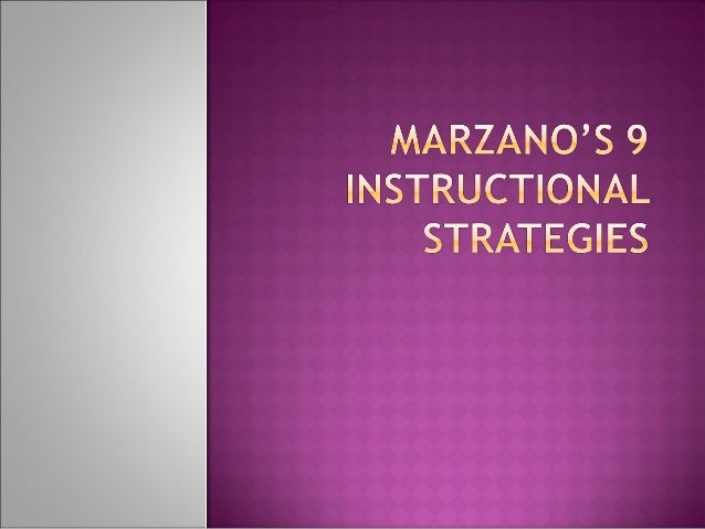  Marzano, Pickering, and Pollock, researched all the literature on effective instructional strategies that are use in the...