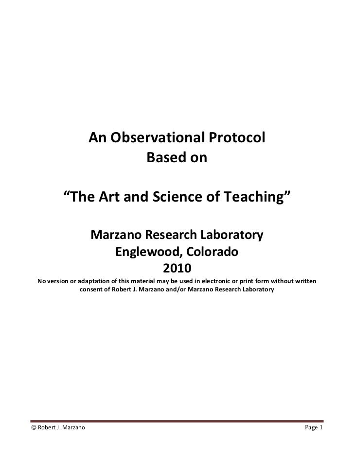 An Observational Protocol                         Based on                                      ...