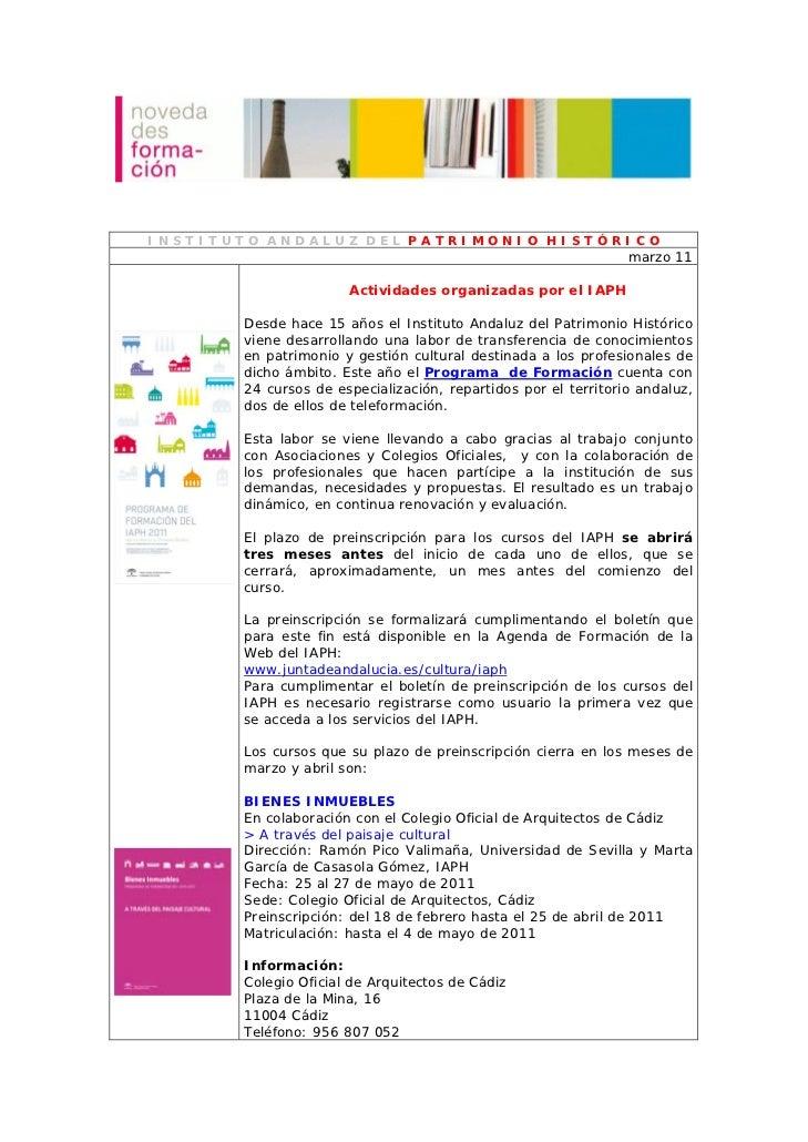 INSTITUTO ANDALUZ DEL PATRIMONIO HISTÓRICO                                                                marzo 11        ...