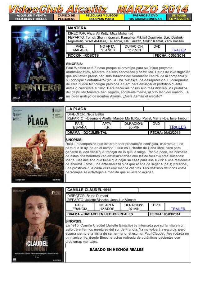ALQUILER Y VENTA PELICULAS Y JUEGOS  CAMBIO DE PELICULAS  PELICULAS Y JUEGOS SEGUNDA MANO  PASAMOS A DVD TUS GRABACIONES 5...