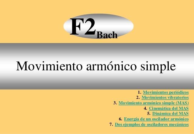 1. Movimientos periódicos 2. Movimientos vibratorios 3. Movimiento armónico simple (MAS) 4. Cinemática del MAS 5. Dinámica...