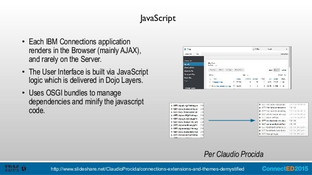 JavaScript: Jazz Application Framework (JAF) ● IBM Connections uses a modified code drop of the Rational Concert / JAF fra...