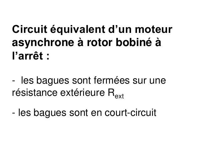 Circuit équivalent d'un moteur asynchrone à rotor bobiné à l'arrêt : - les bagues sont fermées sur une résistance extérieu...