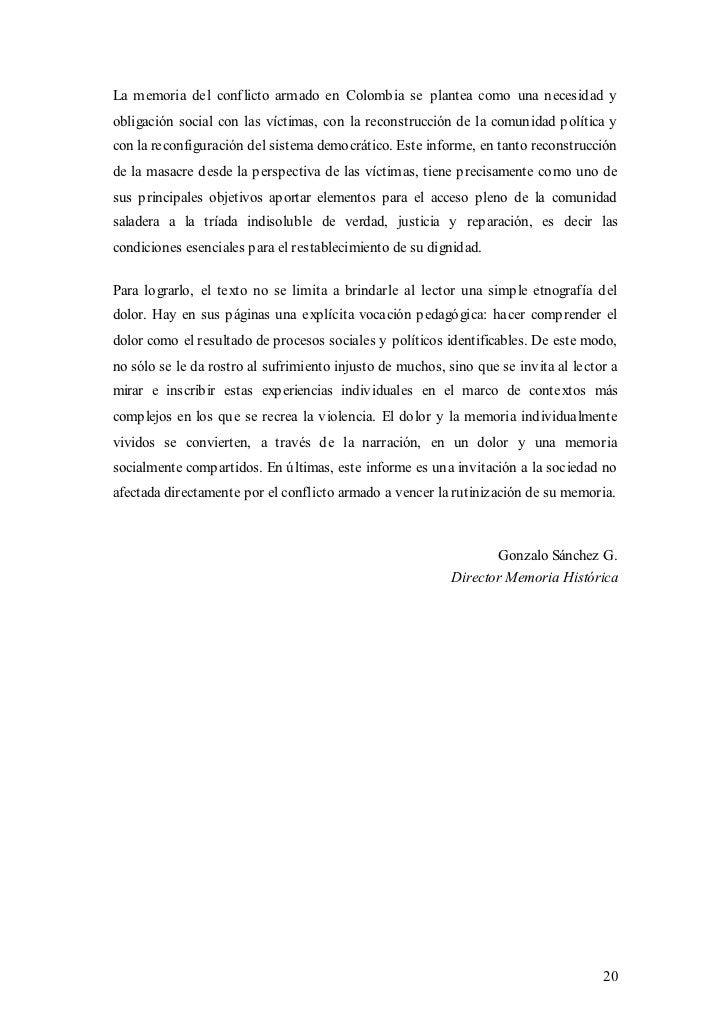La memoria del conflicto armado en Colombia se plantea como una necesidad yobligación social con las víctimas, con la reco...