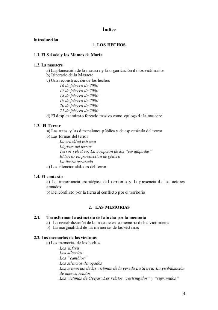 ÍndiceIntroducción                                 1. LOS HECHOS1.1. El S alado y los Montes de María1.2. La masacre      ...