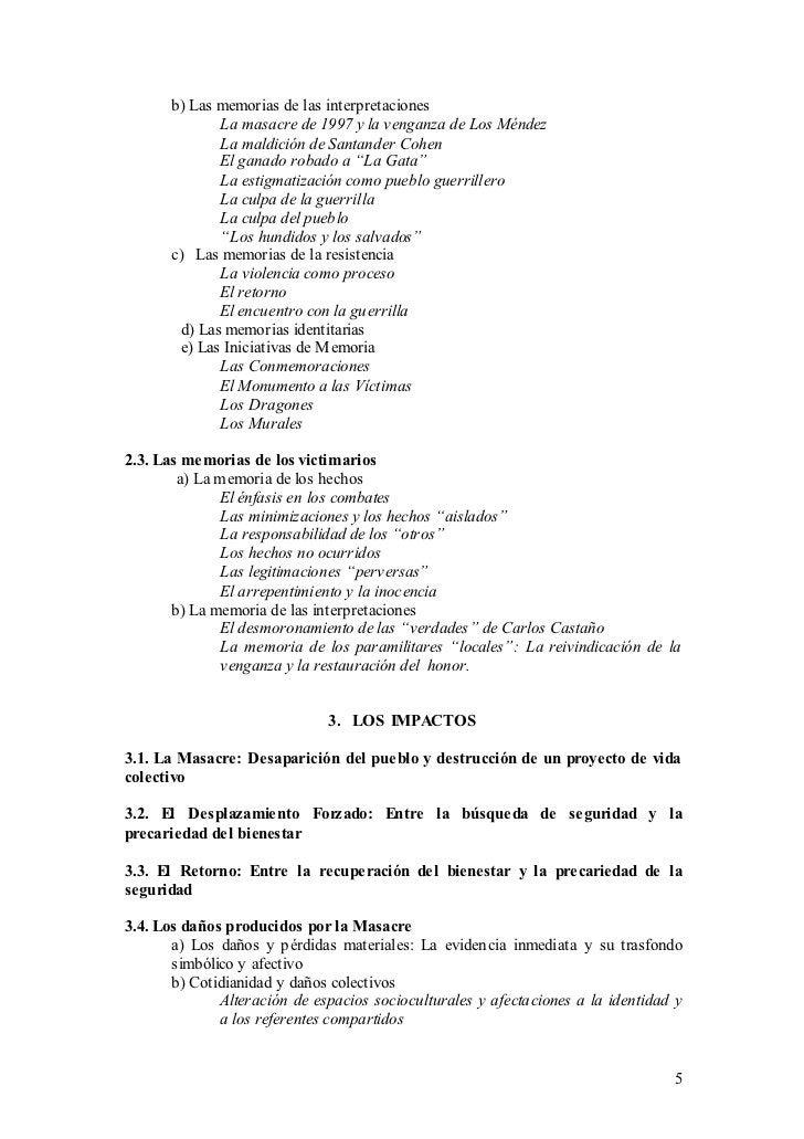b) Las memorias de las interpretaciones               La masacre de 1997 y la venganza de Los Méndez               La mald...