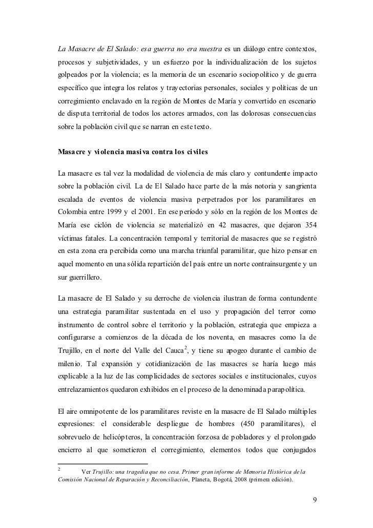 La Masacre de El Salado: esa guerra no era nuestra es un diálogo entre contextos,procesos y subjetividades, y un esfuerzo ...
