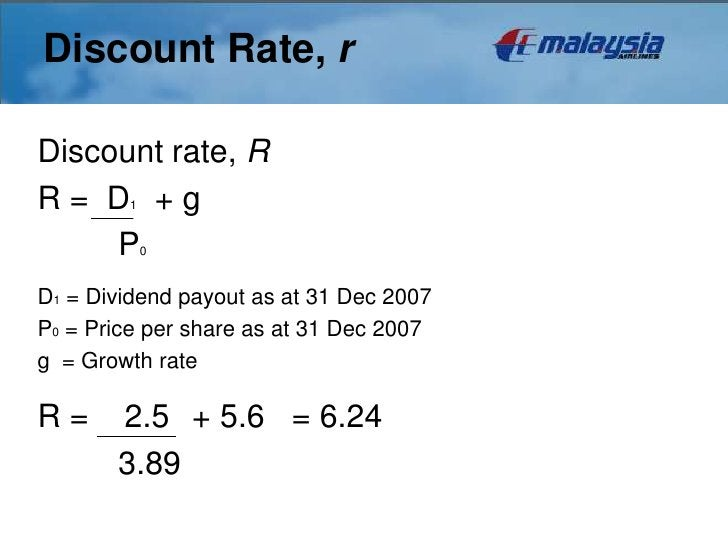 Discount Rate, rDiscount rate, RR= D +g 1     P      0D1 = Dividend payout as at 31 Dec 2007P0 = Price per share as at 31 ...