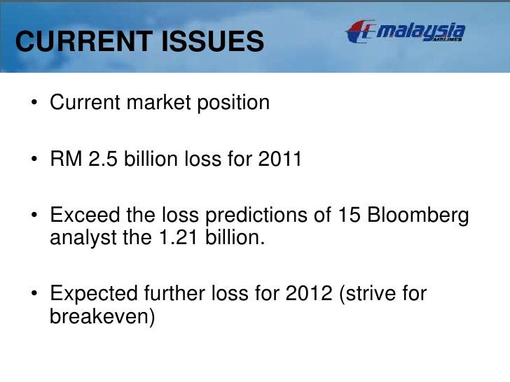CURRENT ISSUES• Current market position• RM 2.5 billion loss for 2011• Exceed the loss predictions of 15 Bloomberg  analys...