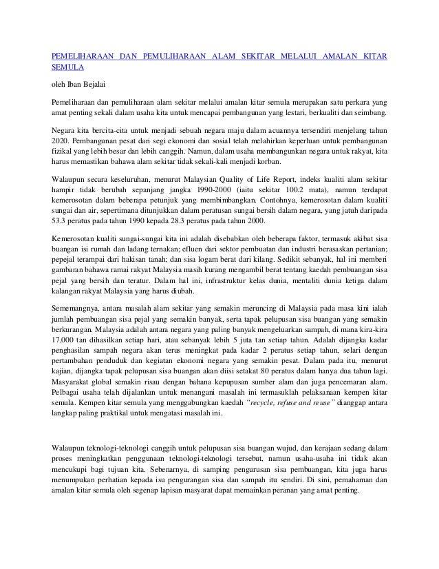 Contoh Karangan Pencemaran Alam Sekitar Surat 35