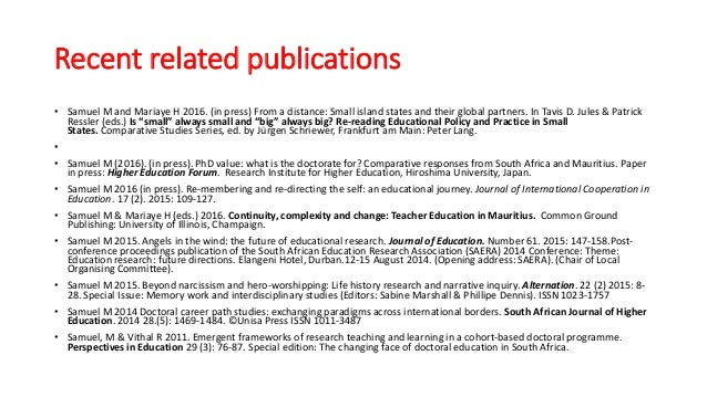 Recent related publications • Samuel M and Mariaye H 2016. (in press) From a distance: Small island states and their globa...