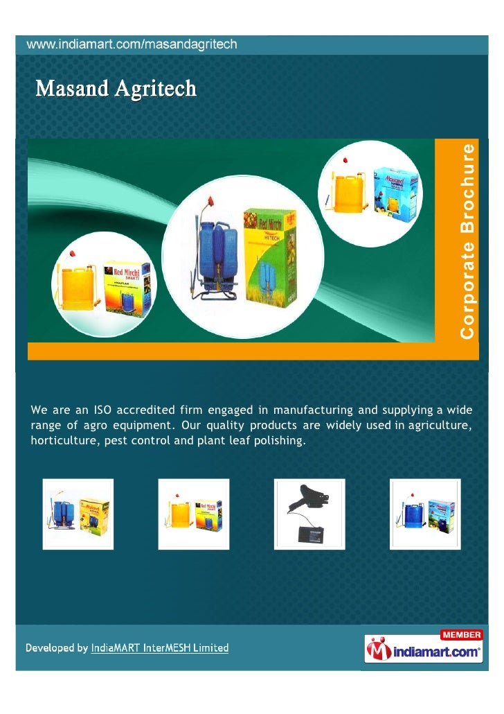 We are an ISO accredited firm engaged in manufacturing and supplying a widerange of agro equipment. Our quality products a...