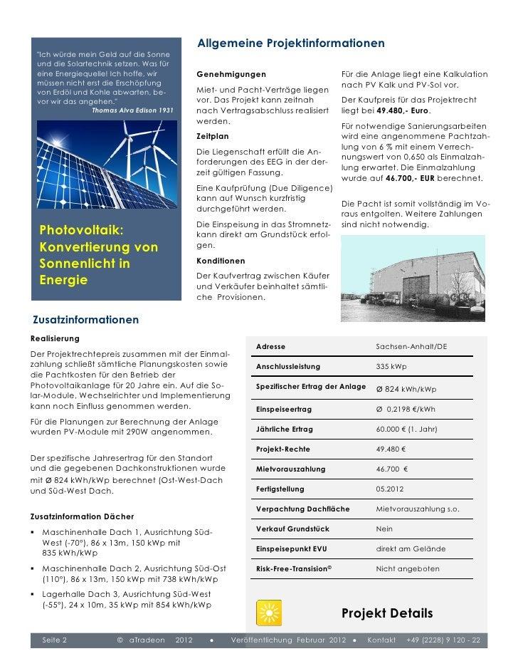 """Allgemeine Projektinformationen """"Ich würde mein Geld auf die Sonne und die Solartechnik setzen. Was für eine Energiequelle..."""