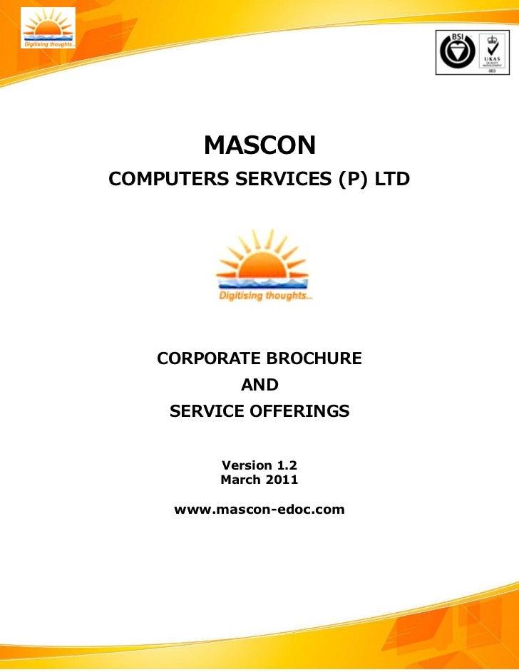 MASCON               COMPUTERS SERVICES (P) LTD                     CORPORATE BROCHURE                              AND   ...