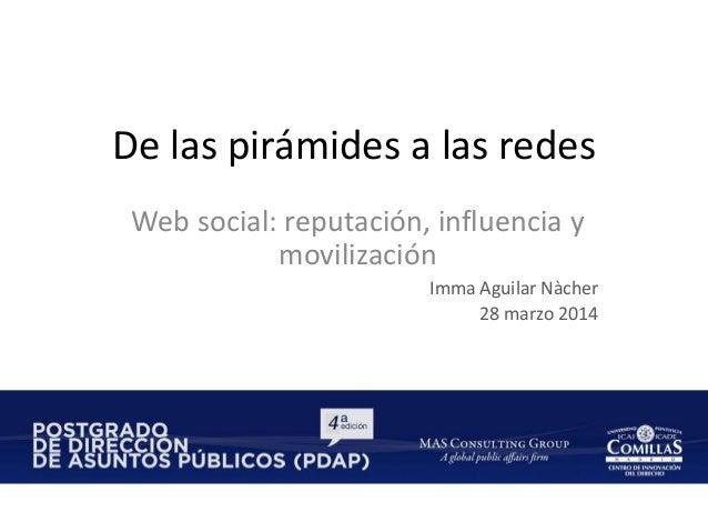 De las pirámides a las redes Web social: reputación, influencia y movilización Imma Aguilar Nàcher 28 marzo 2014