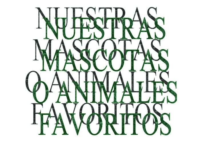 NUESTRAS MASCOTAS O ANIMALES FAVORITOS