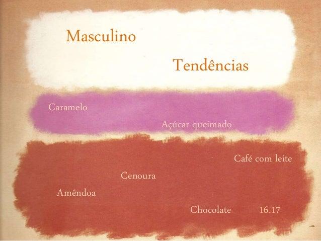 Masculino Tendências 16.17 Caramelo Açúcar queimado Café com leite Cenoura Amêndoa Chocolate