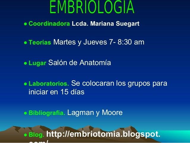 ● Coordinadora Lcda. Mariana Suegart● Teorías Martes y Jueves 7- 8:30 am● Lugar Salón de Anatomía● Laboratorios. Se coloca...