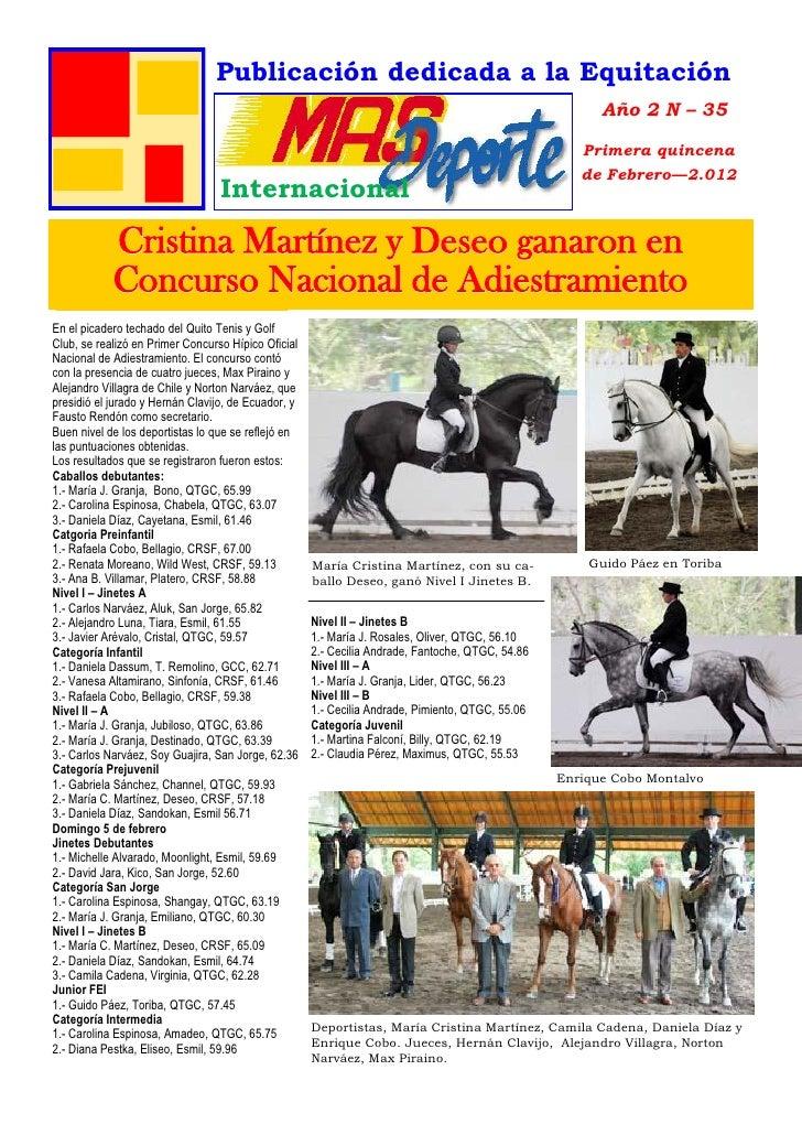 Publicación dedicada a la Equitación                                 AS D                                                 ...