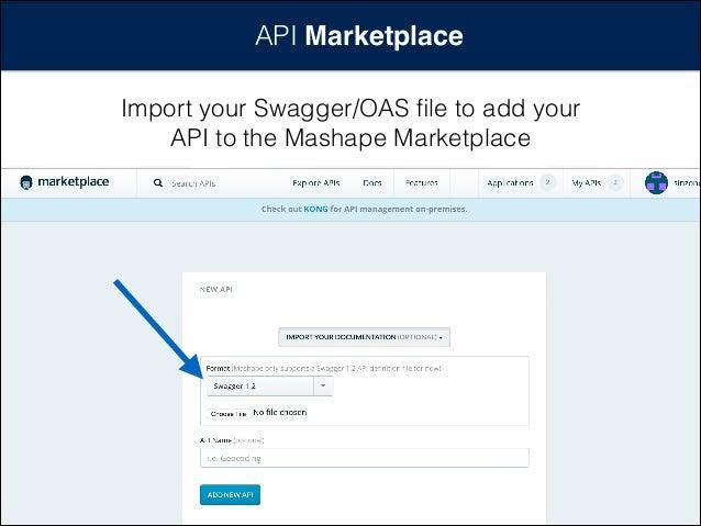 API Marketplace Import your Swagger/OAS file to add your API to the Mashape Marketplace