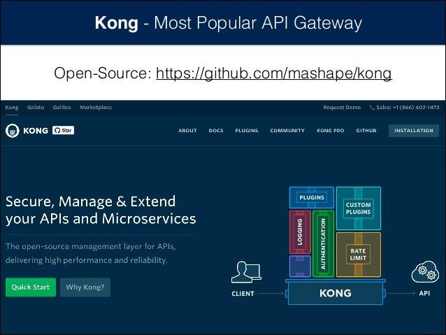 Kong - Most Popular API Gateway Open-Source: https://github.com/mashape/kong