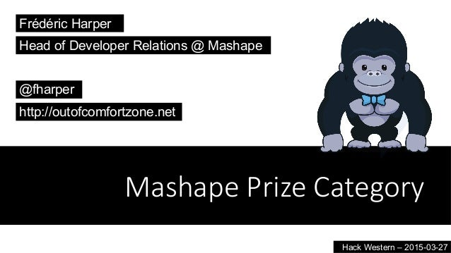 Mashape  Prize  Category Frédéric Harper @fharper http://outofcomfortzone.net Head of Developer Relations @ Mashape Hack W...