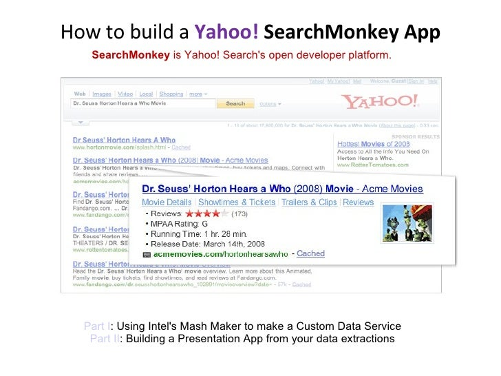 How to build a  Yahoo!  SearchMonkey App SearchMonkey  is Yahoo! Search's open developer platform. Part I : Using Intel's ...