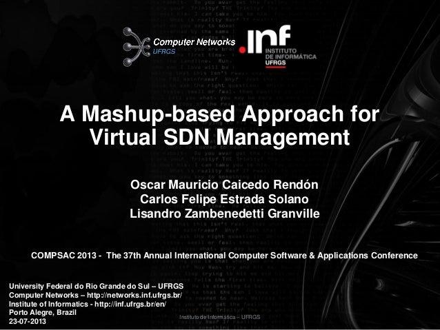 Instituto de Informática – UFRGS A Mashup-based Approach for Virtual SDN Management Oscar Mauricio Caicedo Rendón Carlos F...
