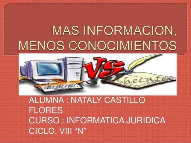 """ALUMNA : NATALY CASTILLO FLORES CURSO : INFORMATICA JURIDICA CICLO. VIII """"N"""""""