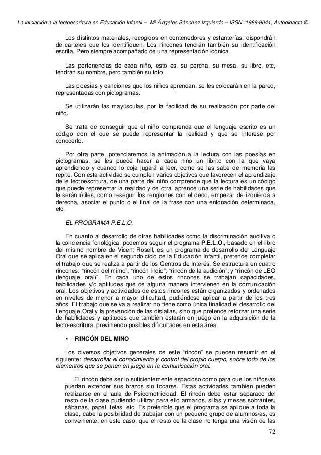 La iniciación a la lectoescritura en Educación Infantil – Mª Ángeles Sánchez Izquierdo – ISSN :1989-9041, Autodidacta © 72...