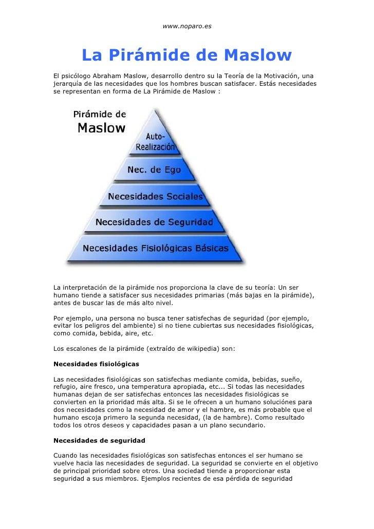 www.noparo.es              La Pirámide de Maslow El psicólogo Abraham Maslow, desarrollo dentro su la Teoría de la Motivac...