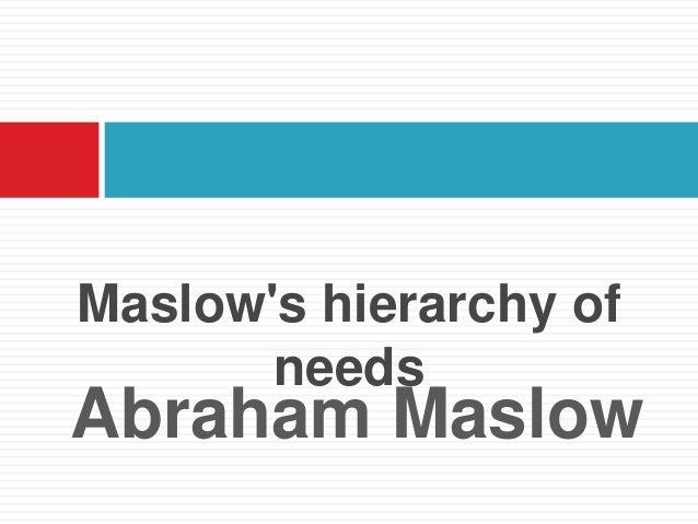 Maslows hierarchy of       needsAbraham Maslow